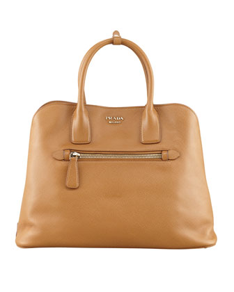 Saffiano Cuir Open Promenade Tote Bag, Brown