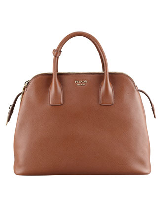 Soft Saffiano Triple-Zip Satchel Bag, Brown