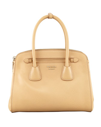 Saffiano Cuir Small Double-Zip Tote Bag, Beige