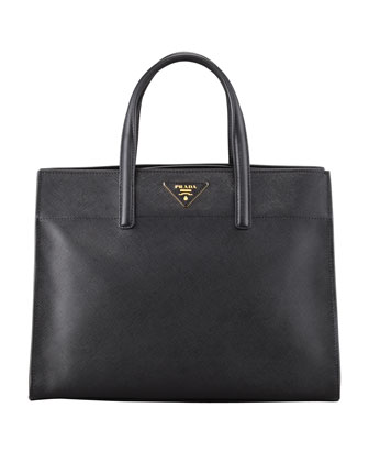 Saffiano Soft Triple-Pocket Tote Bag, Black