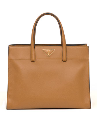 Saffiano Soft Triple-Pocket Tote Bag, Brown