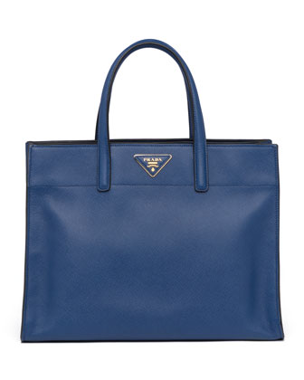 Saffiano Soft Triple-Pocket Tote Bag, Blue
