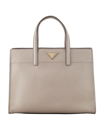 Saffiano Soft Triple-Pocket Tote Bag, Gray