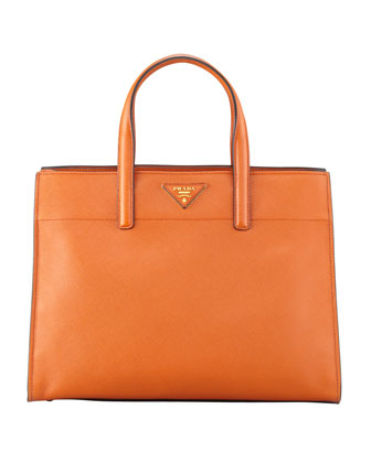 Saffiano Soft Triple-Pocket Tote Bag, Orange