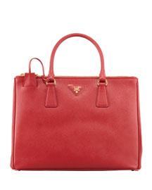 Saffiano Double-Zip Executive Tote Bag, Red (Fuoco)