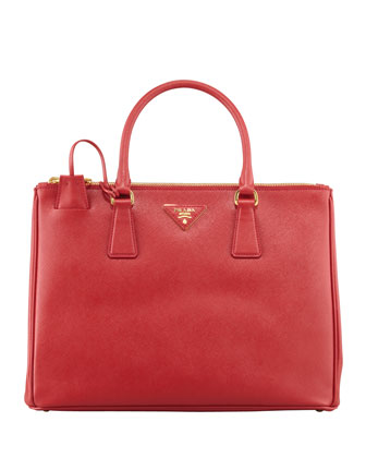 Saffiano Small Double-Zip Executive Tote Bag, Red (Fuoco)