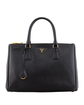 Saffiano Small Double-Zip Executive Tote Bag, Black (Nero)