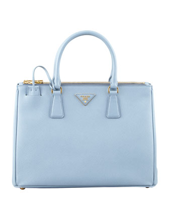 Saffiano Small Double-Zip Executive Tote Bag, Blue