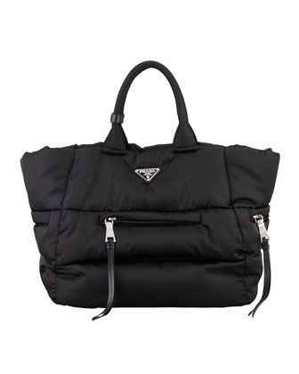 Tessuto Bomber Horizontal-Zip Tote Bag, Black