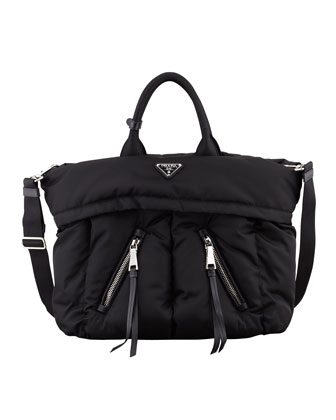 Tessuto Bomber Diagonal-Zip Tote Bag, Black