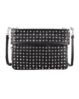 Prada Soft Calf Studded Crossbody Bag, Black