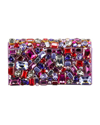 Jeweled Satin Clutch Bag, Purple