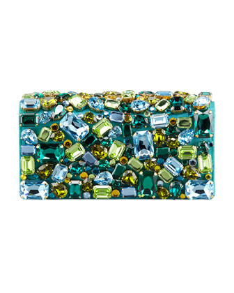 Jeweled Satin Clutch Bag, Turquoise (Pavonne)