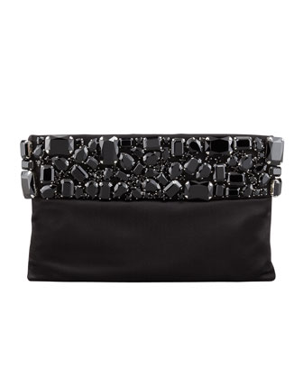 Raso Jeweled Pochette Bag, Black