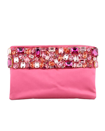 Raso Jeweled Pochette Bag, Pink (Fuxia)