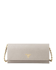 Saffiano Wallet on a Chain, Gray (Argilla)
