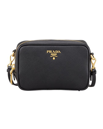 Saffiano Mini Zip Crossbody Bag, Black