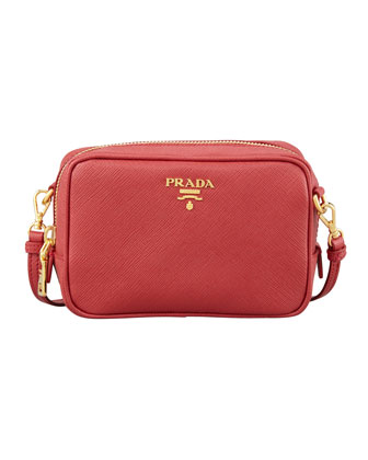 Saffiano Mini Zip Crossbody Bag, Red