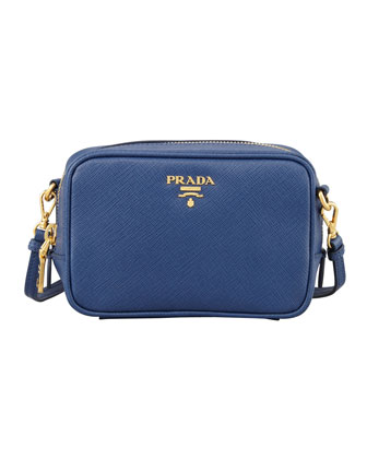 Saffiano Mini Zip Crossbody Bag, Blue