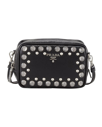 Saffiano Studded Mini Zip Crossbody Bag, Black