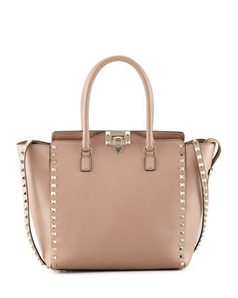 Rockstud Double-Handle Shoulder Tote Bag, Tan