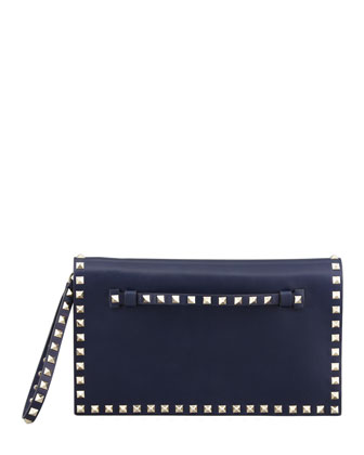 Rockstud Flap Wristlet Clutch Bag, Navy