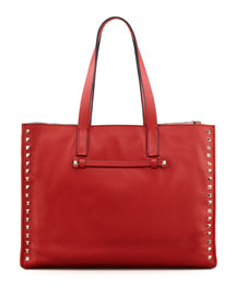 Rockstud Shopping Tote Bag, Red