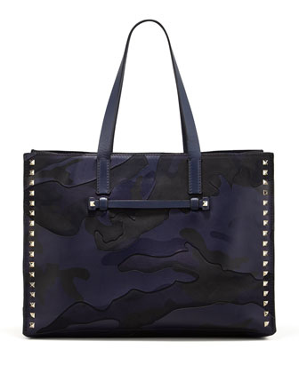 Rockstud Camo-Print East-West Tote Bag, Navy
