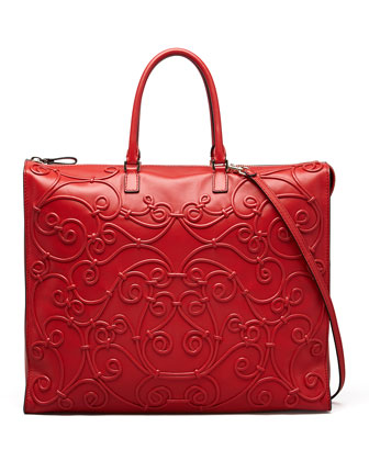 Intricate Soutache Tote Bag, Red