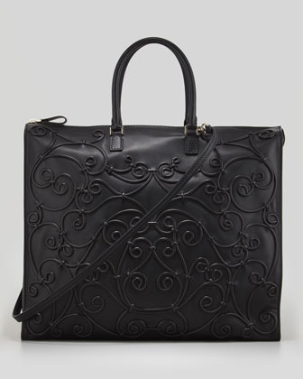 Intricate Soutache Tote Bag, Black