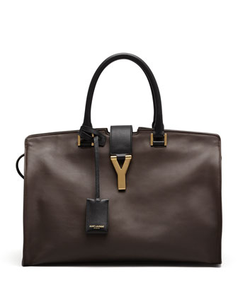 Y-Ligne Large Bicolor Carryall Bag, Brown/Black