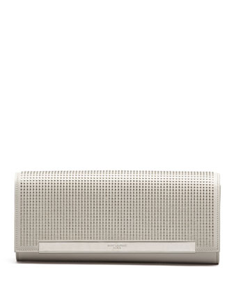 Lutetia Studded Leather Clutch Bag, White