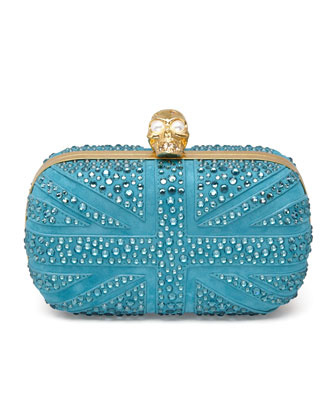 Britannia Crystal Skull-Clasp Clutch Bag, Turquoise