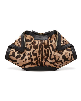De-Manta Leopard-Print Calf Hair Clutch Bag