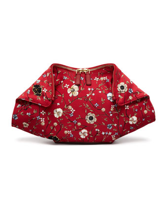 De-Manta Floral-Print Clutch Bag, Red