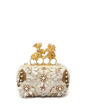 Embroidered Cherub Knuckle-Duster Clutch, Ivory
