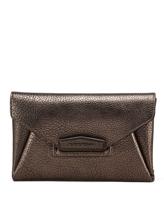 Antigona Small Metallic Envelope Clutch Bag, Gray