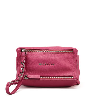 Pandora Wristlet Leather Pouch, Fuchsia