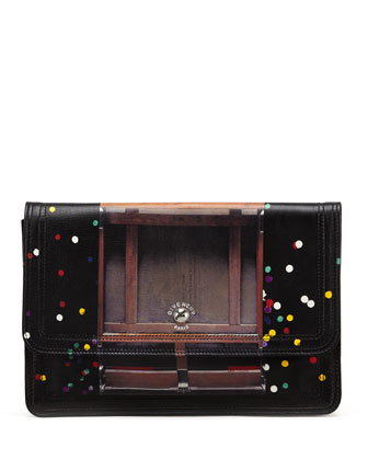 Podium Confetti-Print Clutch Bag