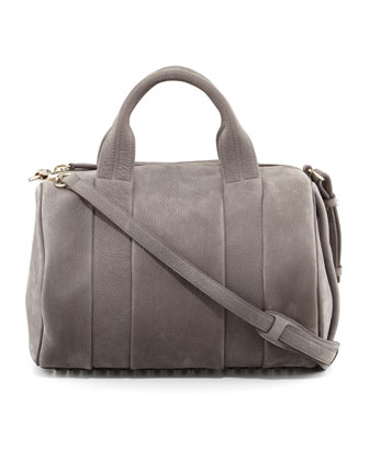 Rocco Stud-Bottom Satchel Bag, Gray