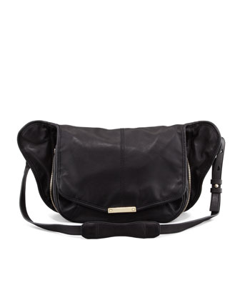 Iris Leather Messenger Bag, Black