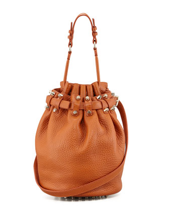 Diego Bucket Bag, Orange/Pale Golden