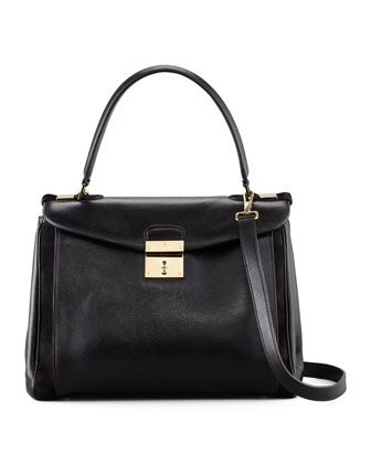 Metropolitan Flap-Top Satchel Bag, Black