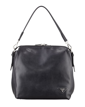Soft Calf Open Domed Hobo Bag, Black (Nero)