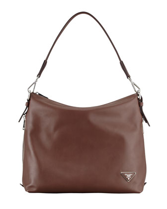 Soft Calf Zip-Top Hobo Bag, Brown