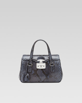 Lady Lock Python Medium Top Handle Bag, Blue
