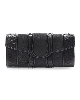 Lindsay Python & Stingray Clutch Bag, Black