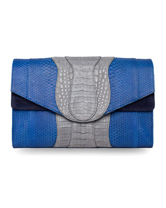 Herzog Oversized Python & Crocodile Clutch Bag, Blue/Navy