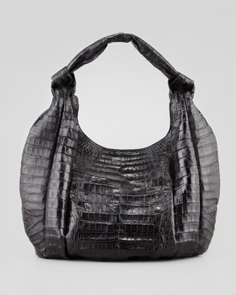 Knot-Strap Crocodile Hobo Bag, Black