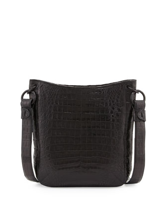 Crocodile Crossbody Bag, Black
